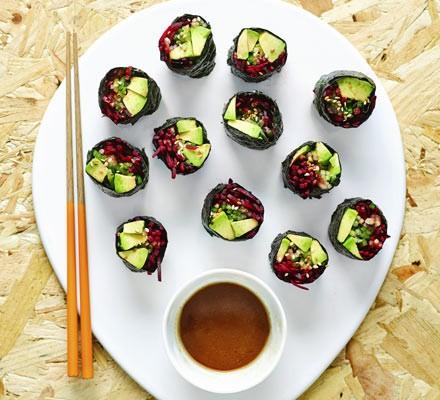 Beetroot & avocado nori rolls with wasabi dipping sauce