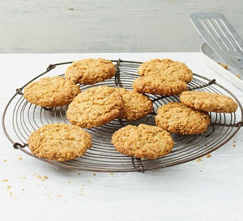 Oat biscuits on a cooling wire rack