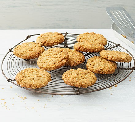 Oat biscuits on a wire tray