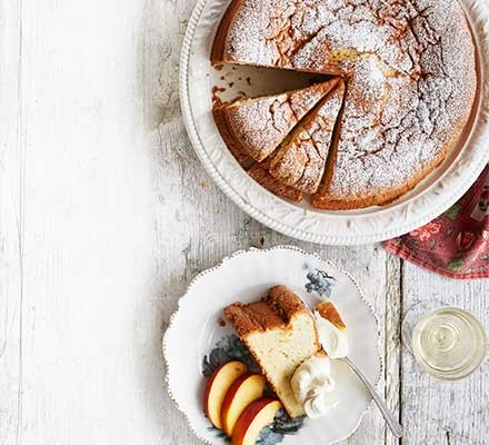 Olive oil & muscat cake served in slices