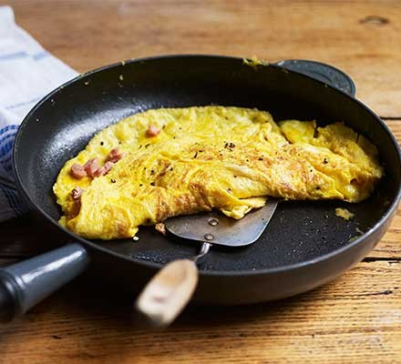 A frying pan serving an omelette