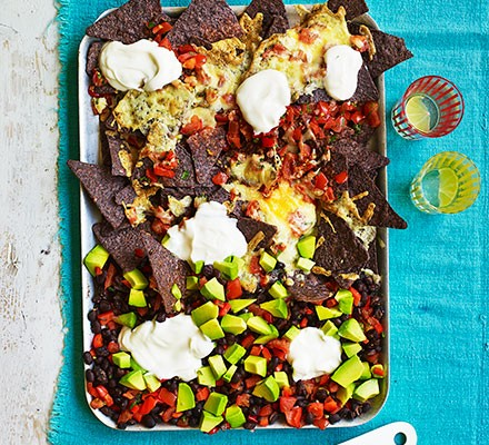 One-pan nachos traybake with black beans