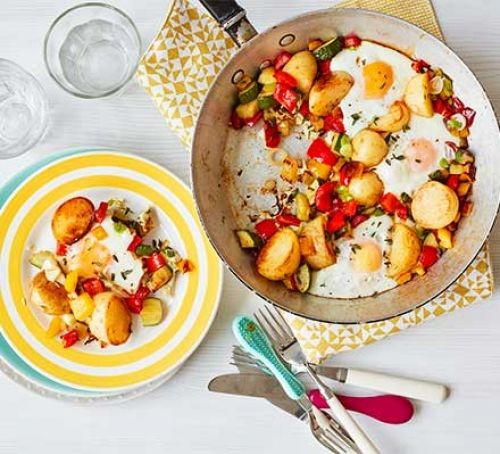 Baked eggs and vegetables in a pan and on a plate