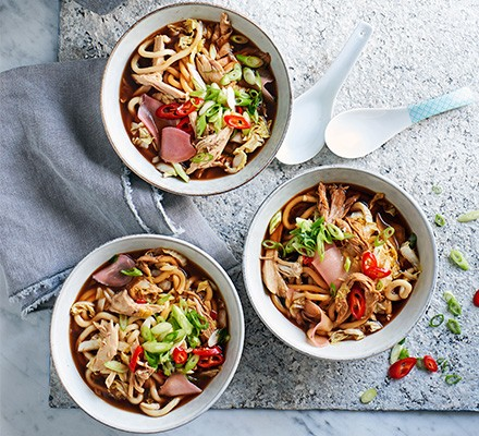 One-pot Chinese chicken noodle soup served in three bowls