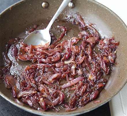 Caramelised onions in a frying pan