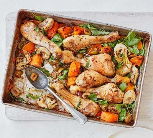 Oregano chicken and squash traybake