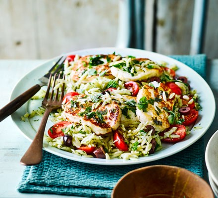 Oregano halloumi with orzo salad
