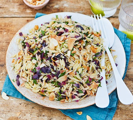 Herby orzo & lemon salad served on a plate