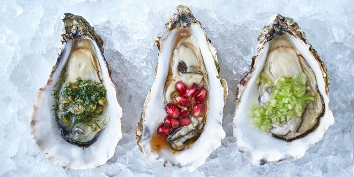 Oysters with pomegranate seeds