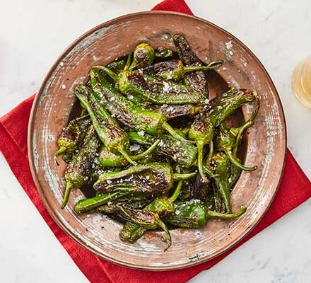 Padron peppers served in a bowl