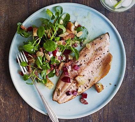 Pan-fried trout with bacon, almonds & beetroot