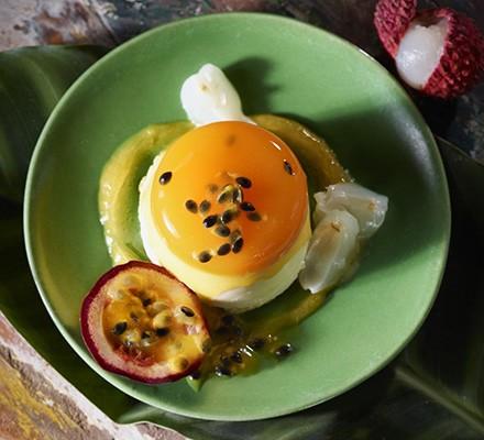 Lychee & passion fruit panna cottas