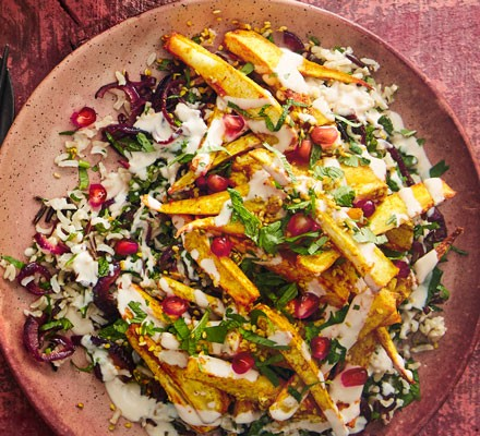 Parsnip and rice salad in bowl