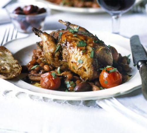 A whole partridge on a plate with olives and cherry tomatoes