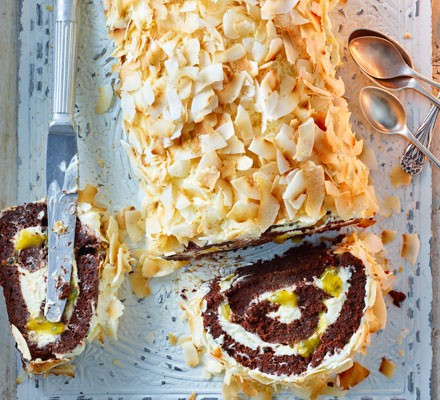 Passion fruit, chocolate & coconut roulade 2016