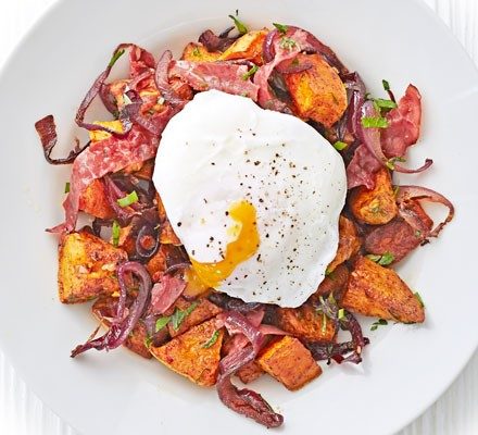 Pastrami & sweet potato hash