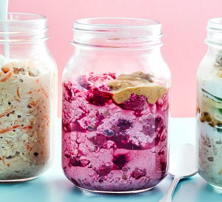 Oats with fruit and peanut butter in jar