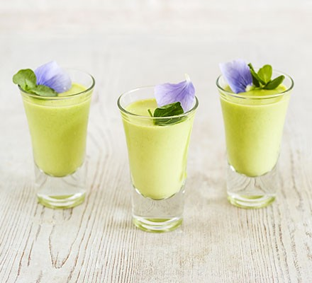 Pea mousse served in small shot glasses