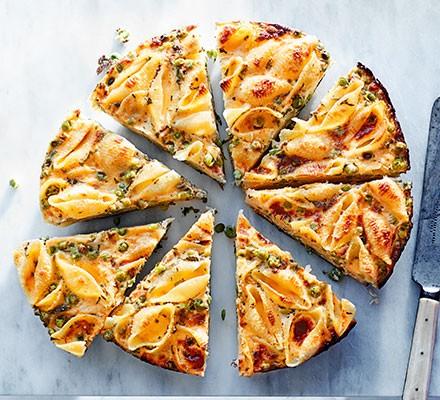 Pea & pasta frittata cut into 8 slices