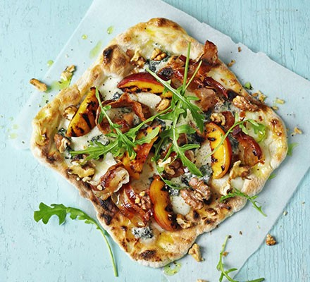 Blue cheese & pancetta pizza with grilled peaches