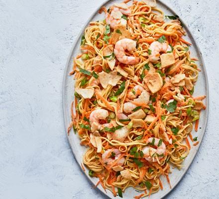 Prawn and noodle salad on platter