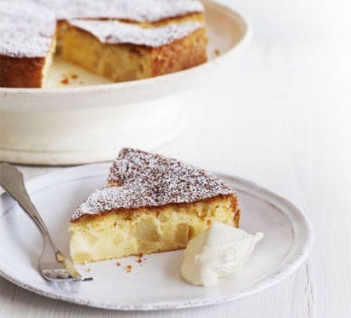 Slice of pear cake on a plate