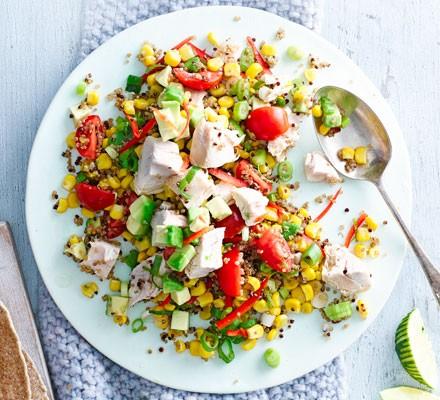 Peruvian chicken, avocado & quinoa salad