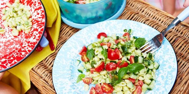 Pesto pasta salad at a picnic
