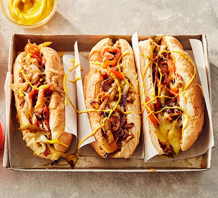 Three philly cheesesteaks