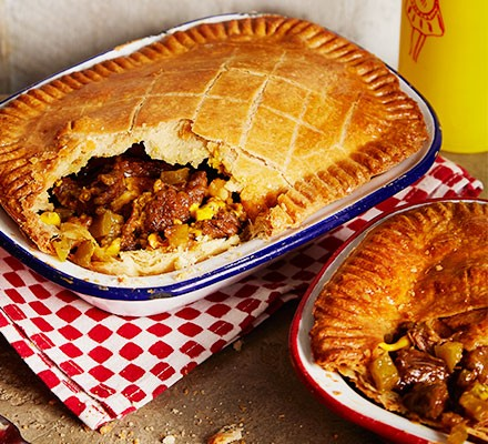 Two philly cheesesteak pies