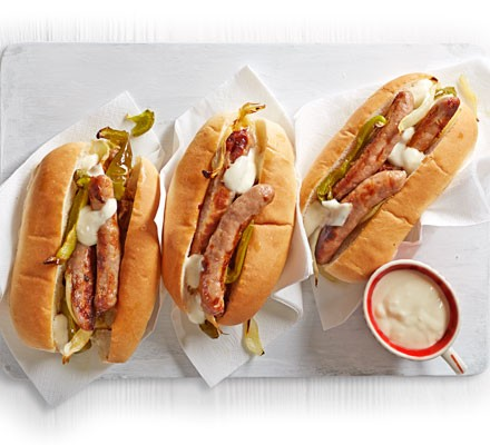 Philly-style cheese dogs