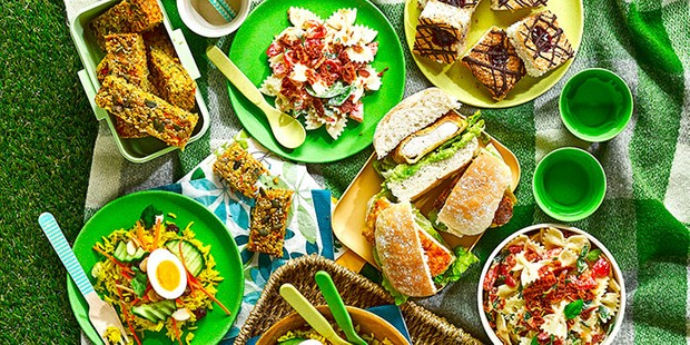 Spread of picnic food on a checked rug