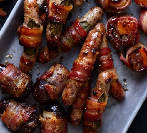 Pigs in blankets on a tray
