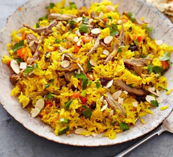 Spiced lamb pilaf recipe served in a bowl