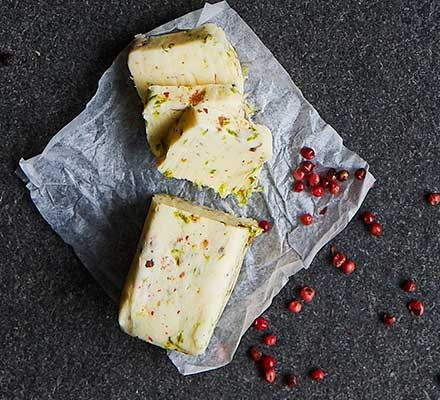 Pink peppercorn & lime butter in a wax wrapper