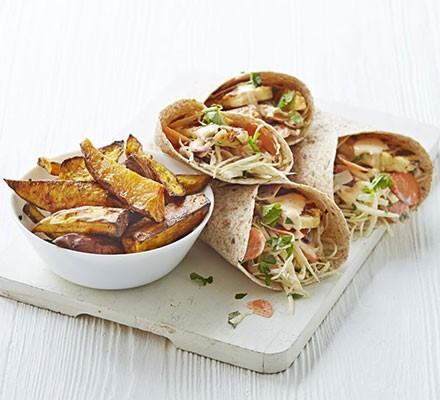 Piri-piri halloumi & slaw wraps with sweet potato wedges