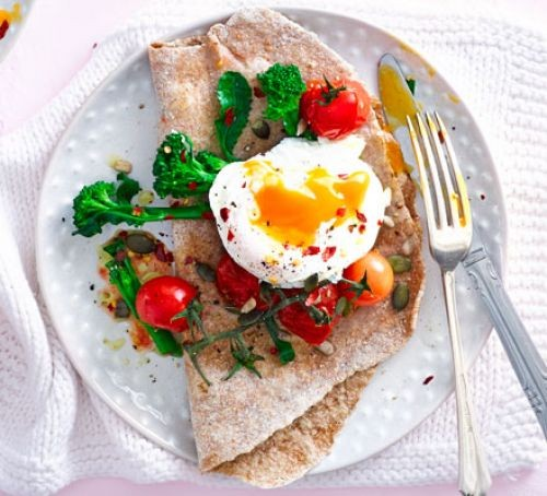 Poached eggs with broccoli, tomatoes & flatbread on a plate with fork