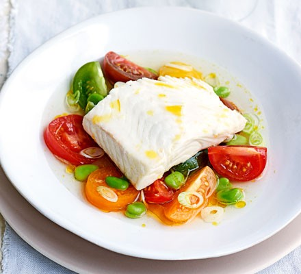 Poached halibut with heritage tomatoes