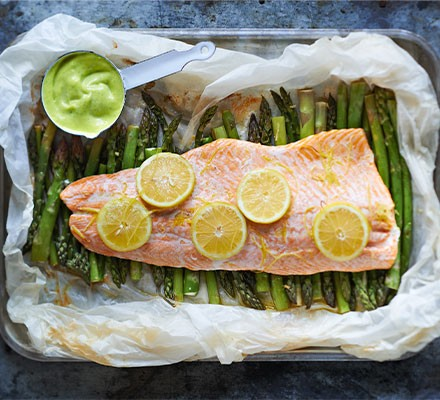 Poached salmon & asparagus with wild garlic mayonnaise