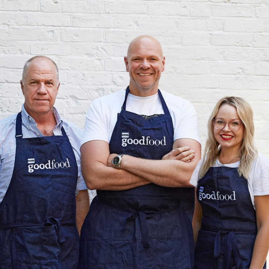 Orlando Murrin, Tom Kerridge and Rosie Birkett in Good Food aprons