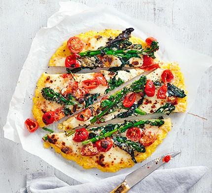 Polenta pizza with purple sprouting broccoli & mozzarella