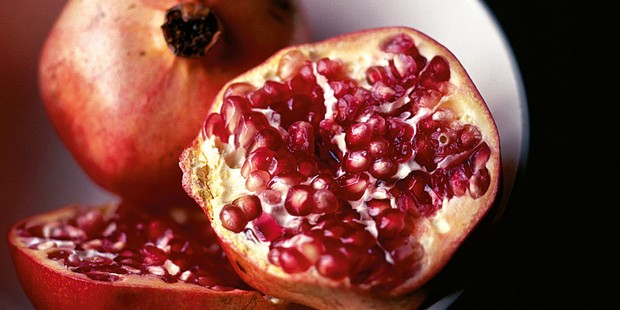 Pomegranate fruit cut in half