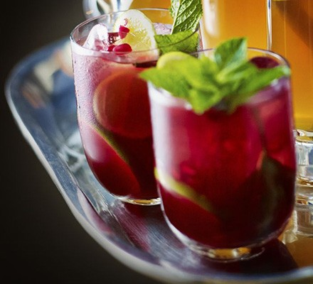 Pomegranate mojito mocktail