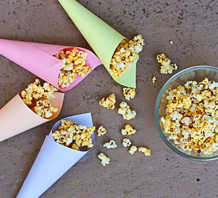 Sweet popcorn in coloured cones