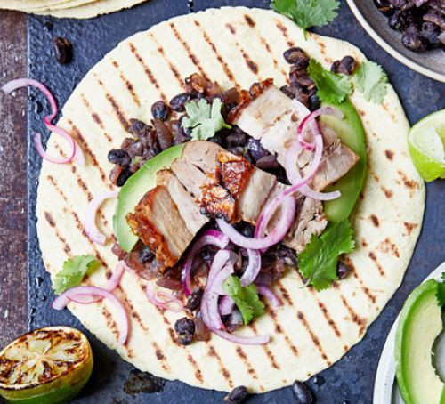 Pork & black bean tacos
