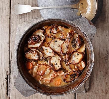 Pork, cider & artichoke stew