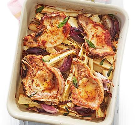 Pork & parsnip traybake
