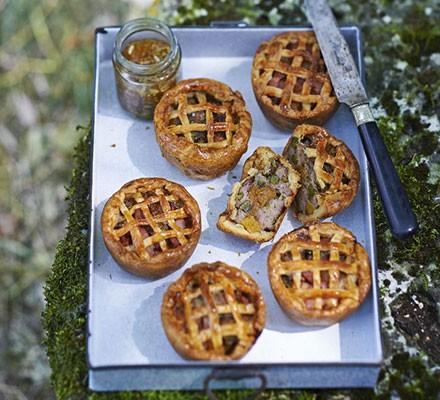 Pork, apricot & pistachio pies