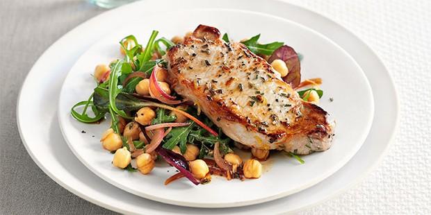 rosemary pork chops recipe bbc good food Lemon & rosemary pork with chickpea salad recipe  BBC Good Food