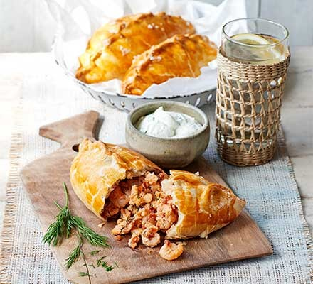 A serving board with prawn & smoked salmon pasties